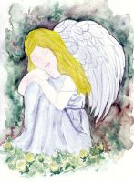 Angel and flowers
